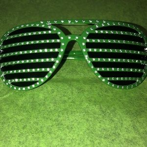 *** NEW *** Striped Rhinestone Sunglasses- Green